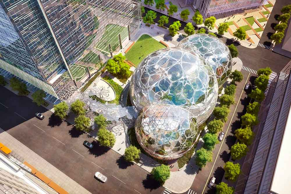 Amazon construye unas oficinas a modo de invernadero en el centro de Seattle