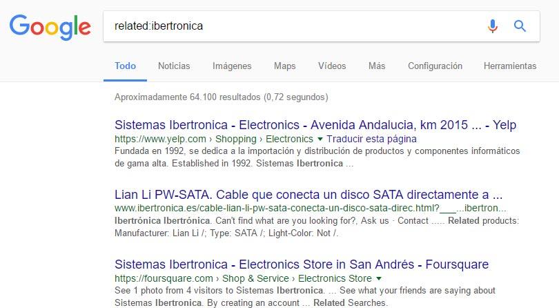 Busqueda similares relacioandos Google